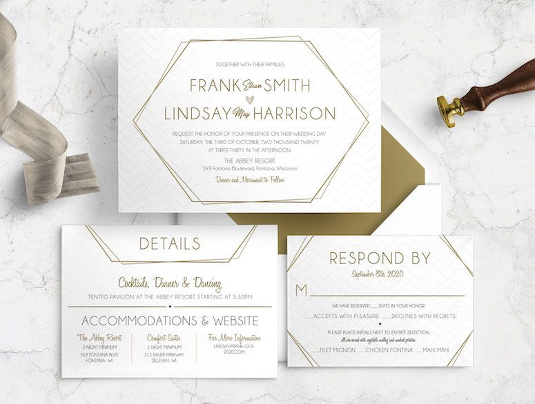 Geometric Antique Refined Wedding Invitation Bundle