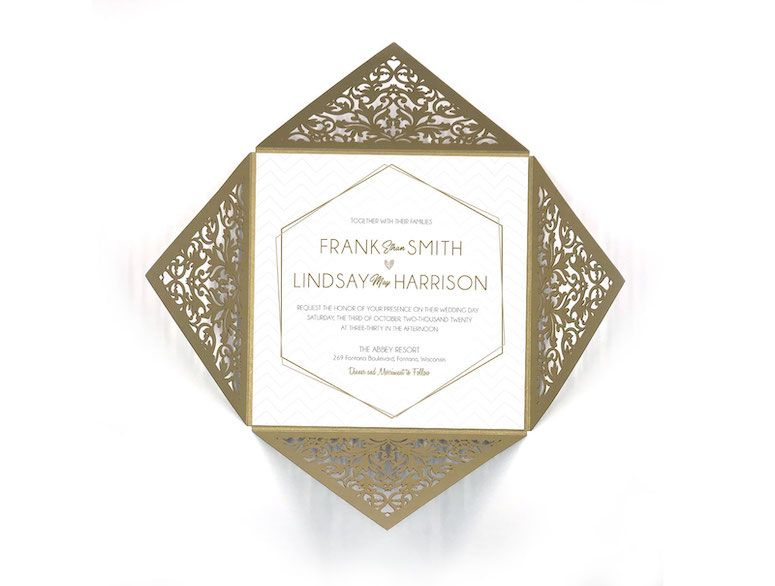 Geometric Antique Refined Wedding Laser Cut Invitation