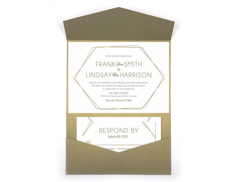 Geometric Antique Refined Wedding Pocket Invitation