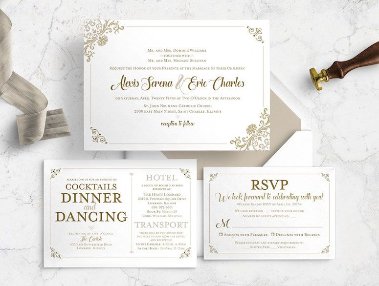 Traditional Ornate Timeless Regal Wedding Invitation Bundle