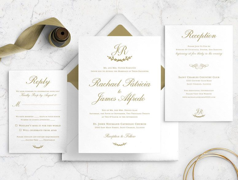 Traditional Timeless Formal Simple Wedding Invitation Bundle