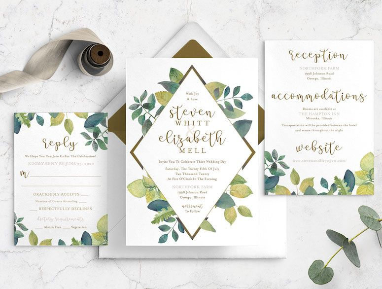 Modern Vibrant Greenery Wedding Invitation Bundle
