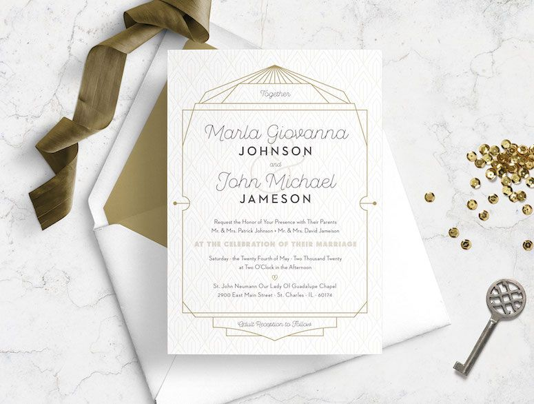 Classy Art Deco Sophisticated Wedding Invitation