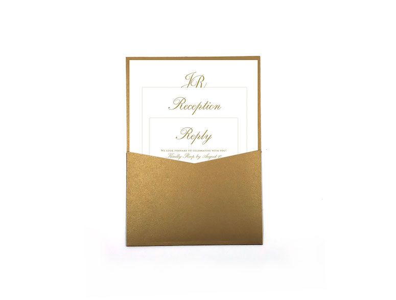 Traditional Timeless Formal Simple Wedding Pocket Invitation