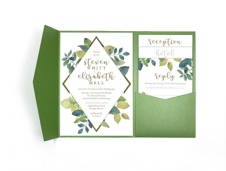 Modern Vibrant Greenery Wedding Pocket Invitation