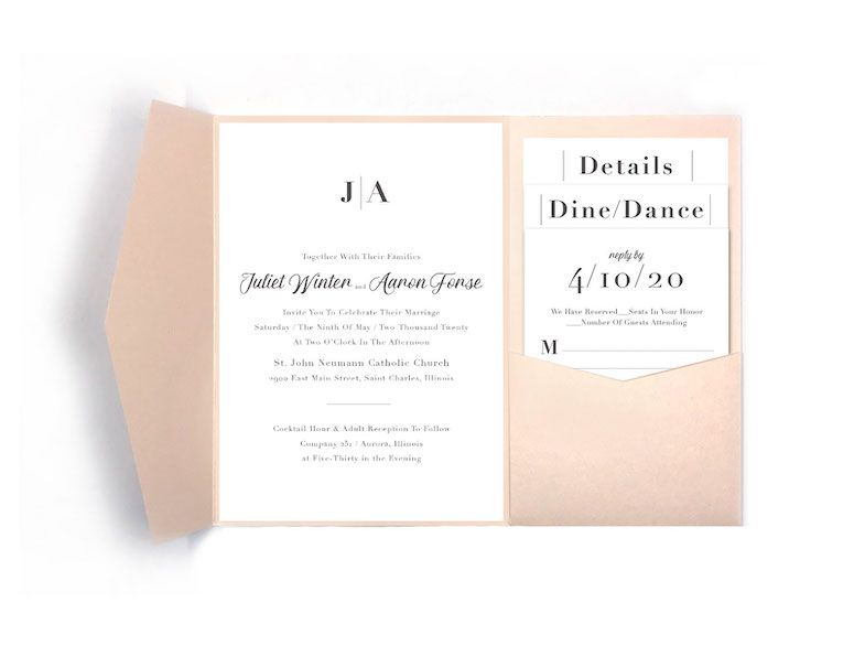 Classic Contemporary Simple Wedding Pocket Invitation