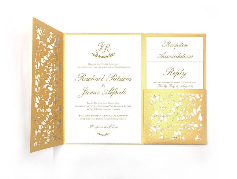 Traditional Timeless Formal Simple Wedding Laser Cut Invitation